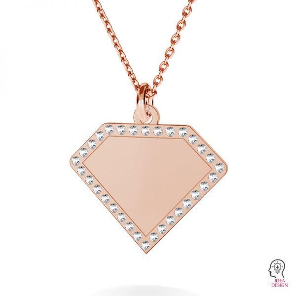 Diamond pendant, Swarovski base, sterling silver, LKM-2142 - 0,80 (1028 PP 4)