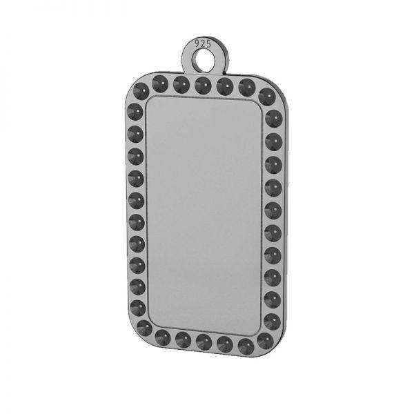 Rectangle, dog tag pendant, Swarovski base, sterling silver, LKM-2140 - 0,80 (1028 PP 4)