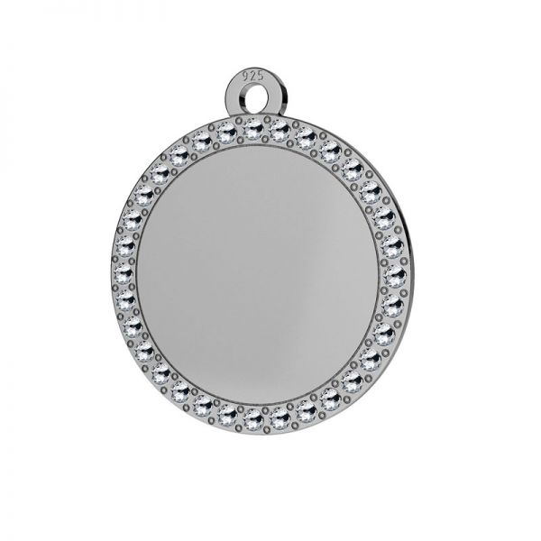Round pendant with Swarovski crystals, sterling silver, LKM-2133 - 0,80 ver.2