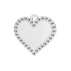 Heart pendant with Swarovski Crystals, sterling silver, LKM-2139 - 0,80 ver.2