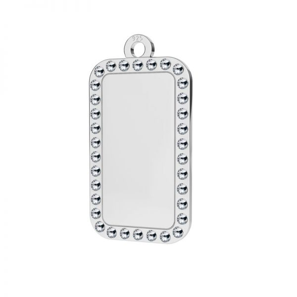 Rectangle pendant with Swarovski Crystals, sterling silver, LKM-2140 - 0,80 ver.2
