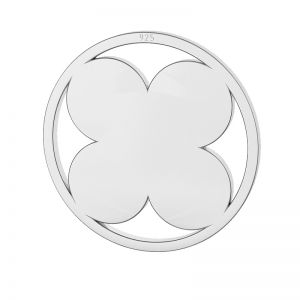 Clover pendant tag, sterling silver, LKM-2127