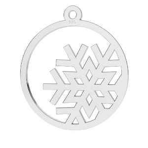 Snowflake pendant, sterling silver, LKM-2248 - 0,50