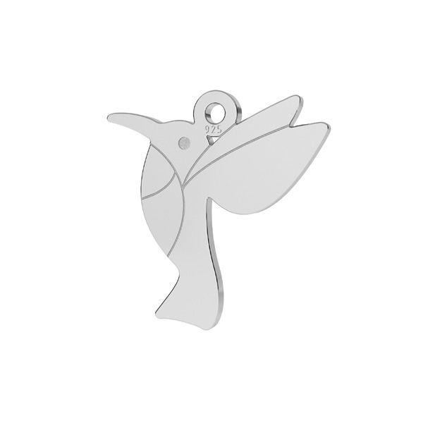 Origami hummingbird pendant, sterling silver, LKM-2266 - 0,50