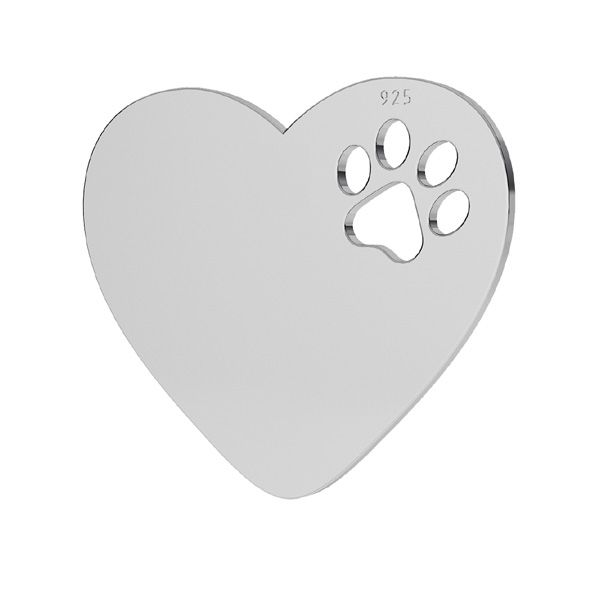 Heart with dog paw pendant, sterling silver, LKM-2294 - 05