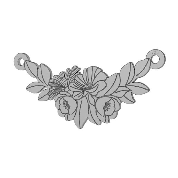 Bouquet of flowers connector pendant, sterling silver, LKM-2245 - 0,50