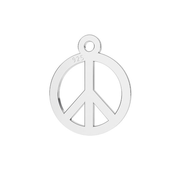 Peace symbol pendant, sterling silver, LKM-2258 - 0,50