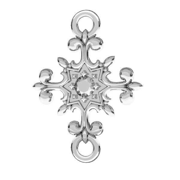 Crucifix pendant connector, sterling silver 925, ODL-00600