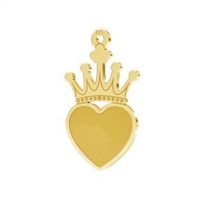 Crown pendant, Swarovski heart base, sterling silver 925, LKM-2330 - 0,50 (2808 MM 10)