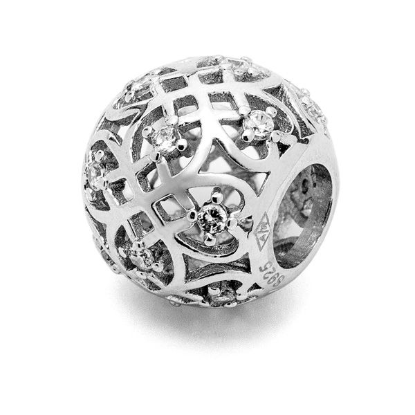 Round beads with zircons*sterling silver 925*BDS-00003