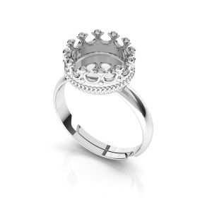 Round ring for resin - crown*sterling silver 925*ODL-00681 U-RING
