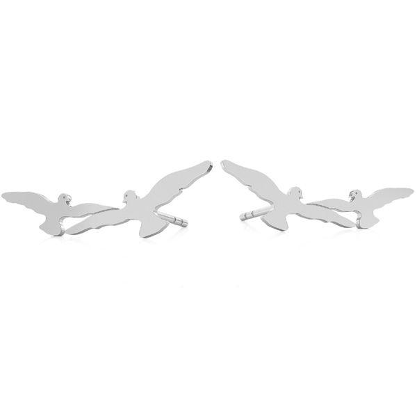 Birds earrings, sterling silver 925, LK-2181 KLS - 0,50