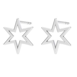 Star earrings, sterling silver 925, KLS LKM-2371 - 0,50 9,7x10,9 mm