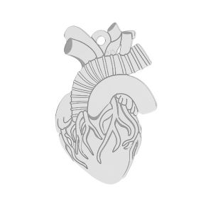 Human heart pendant, sterling silver, LKM-2370 - 0,50 14x21,6 mm
