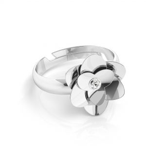 Rose ring with Swarovski - Crystal*sterling silver 925*U-RING ODL-00041