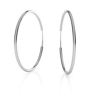 Round hoop earrings*sterling silver 925*KL-350 1,5x50 mm