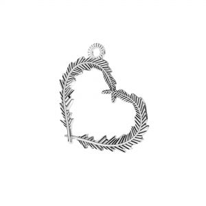 Feathers heart pendant*sterling silver 925*ODL-00723 18,6x22 mm
