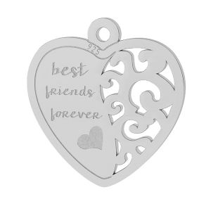 Best friend heart pendant, sterling silver, LKM-2043
