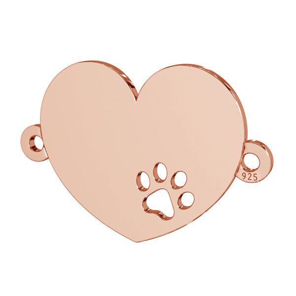 Heart with dog paw pendant connector, sterling silver, LKM-2605 - 0,50 14x18 mm