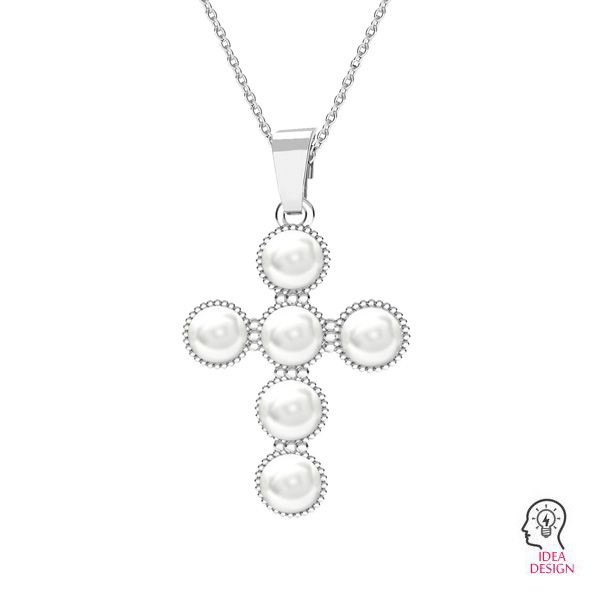 Cross pendant with 6 mm white Swarovski pearls*sterling silver*ODL-00666 20,5x29,5 mm ver.2