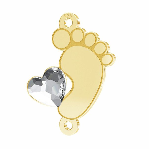 Baby foot pendant connector Swarovski heart*sterling silver 925*LKM-2645 - 0,50 13x16,8 mm