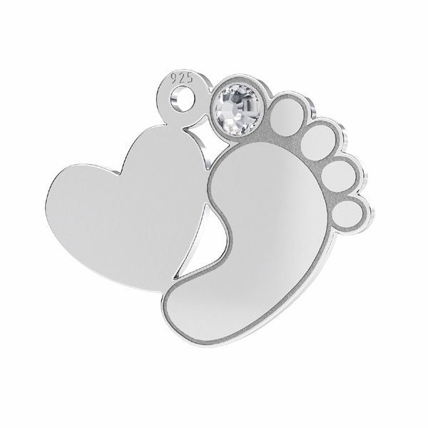 Baby foot heart pendant with Swarovski crystal*sterling silver 925*LKM-2646 - 0,50 13,2x16,5 mm