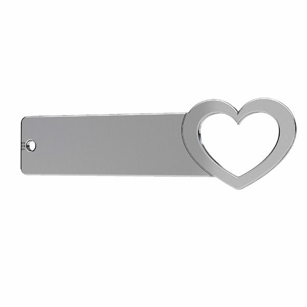 Heart - rectangular pendant connector tag*sterling silver 925*LKM-2637 - 0,50