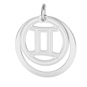 Gemini zodiac pendant*sterling silver 925*LKM-2585 - 0,50 ver.2 18x22 mm