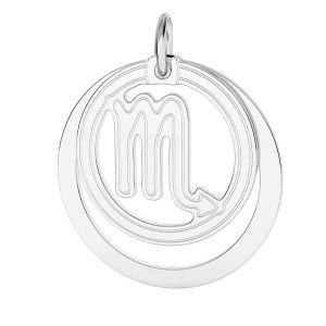 Scorpion zodiac pendant*sterling silver 925*LKM-2592 - 0,50 ver.2 18x22 mm