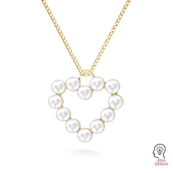 Heart pendant with Swarovski pearls*sterling silver 925*ODL-00789 24x24,5 mm ver.2