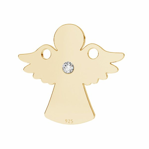 Angel with diamond, pendant connector, silver 925, LKM-2790 - 0,80 13x14,2 mm