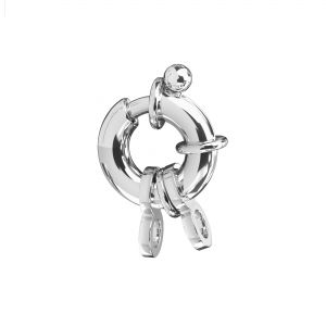 Federing clasps with jumprings, sterling silver 925, AMP 3,5x6,5 mm