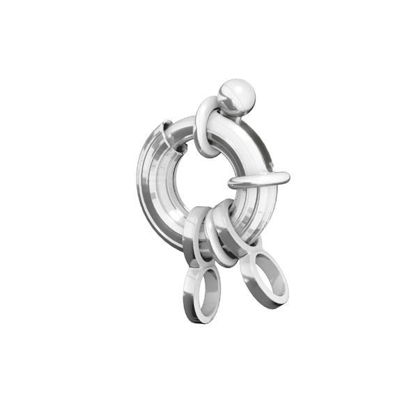 Federing clasps with jumprings, sterling silver 925, AMP 3x11,5 mm