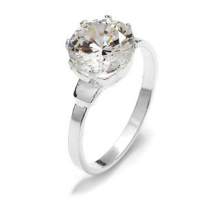 Ring with round zircon*sterling silver 925*RING 01686 CRYSTAL 2x9 mm - L (16,17,18)