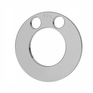 Round pendant tag, karma, connector, sterling silver 925, LKM-2893 - 0,50 12x12 mm
