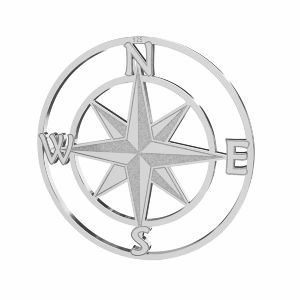 Compass wind rose pendant, sterling silver, LKM-2762 - 0,50 25x25 mm