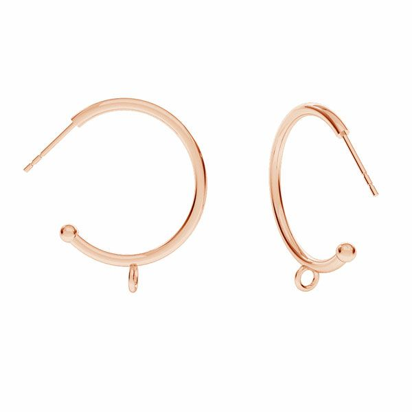 Semicircular earrings with ball, sterling silver 925, CON 1 KLK-440 25,5x26 mm