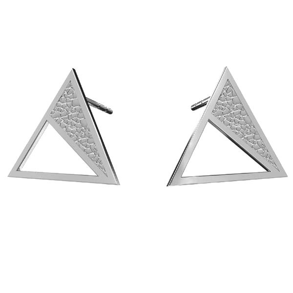 Triangle earrings, sterling silver 925, KLS LKM-2750 - 0,50 11,3x13,1 mm
