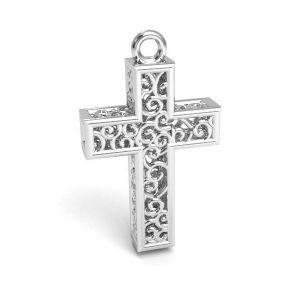 Cross pendant silver, sterling silver 925, CON 1 E-PENDANT 657 11,8x19,8 mm