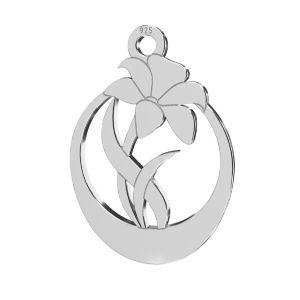 Flower pendant, sterling silver 925, LKM-2208 - 0,50 14,1x20 mm