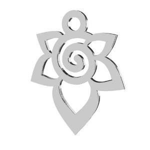 Flower pendant, sterling silver 925, LKM-2217 - 0,50 12,6x15,6 mm