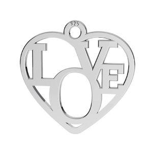 Heart pendant - LOVE, sterling silver 925, LK-2677 - 05 15,5x16 mm