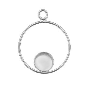 Round pendant, resin base 6mm, sterling silver 925, CON 1 FMG KCL DOWN - 2,10 6 mm