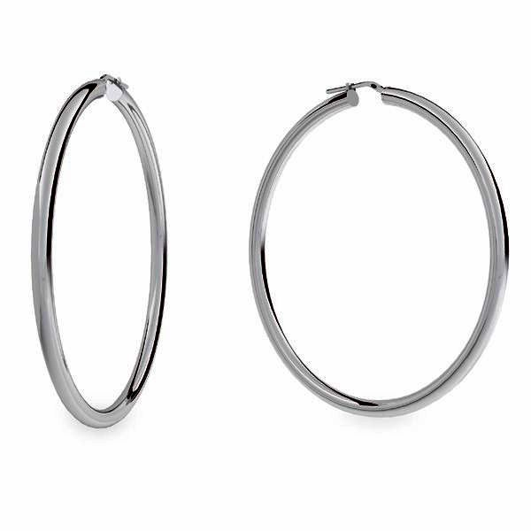 Round hoop earrings 8 cm with clasp, sterling silver 925, KL-470 4x70 mm