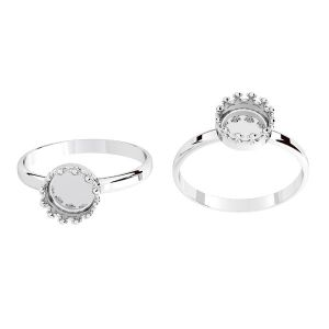 Round ring for resin - crown*sterling silver 925*ODL-00681 RING (R-11)