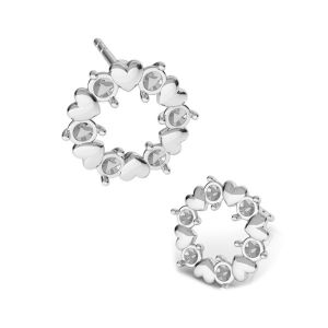 Round earrings with hearts and Swarovski crystals*sterling silver*KLS ODL-00811 ver.2 10,8x10,8 mm