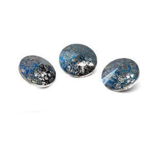 Round crystal 10mm, RIVOLI 10 MM GAVBARI METALIC BLUE PATINA