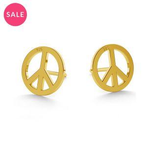 Gold plared peace symbol earrings, sterling silver 925, LK-0590 10x10 mm