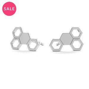 Honeycomb post earring, LK-0811 KLS (L+R) - 0,50