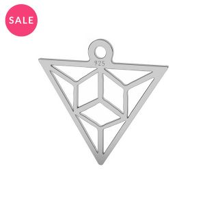 Origami triangle pendant, sterling silver, LK-1508 - 0,50 15,3x16,5 mm